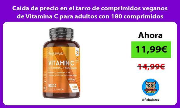 Caída de precio en el tarro de comprimidos veganos de Vitamina C para adultos con 180 comprimidos