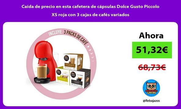 Caída de precio en esta cafetera de cápsulas Dolce Gusto Piccolo XS roja con 3 cajas de cafés variados