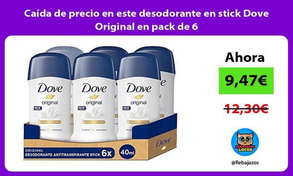 Caída de precio en este desodorante en stick Dove Original en pack de 6