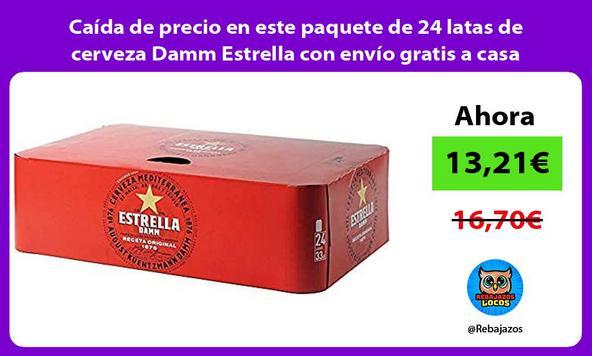 Caída de precio en este paquete de 24 latas de cerveza Damm Estrella con envío gratis a casa