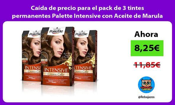Caída de precio para el pack de 3 tintes permanentes Palette Intensive con Aceite de Marula