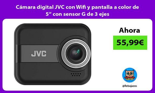 """Cámara digital JVC con Wifi y pantalla a color de 5"""" con sensor G de 3 ejes"""