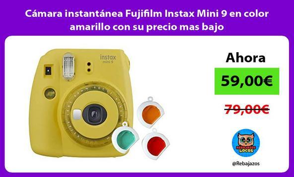 Cámara instantánea Fujifilm Instax Mini 9 en color amarillo con su precio mas bajo
