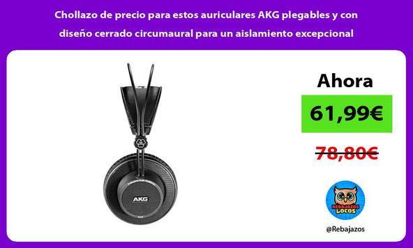 Chollazo de precio para estos auriculares AKG plegables y con diseño cerrado circumaural para un aislamiento excepcional