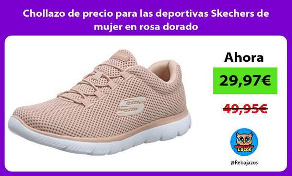 Chollazo de precio para las deportivas Skechers de mujer en rosa dorado