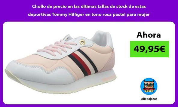 Chollo de precio en las últimas tallas de stock de estas deportivas Tommy Hilfiger en tono rosa pastel para mujer