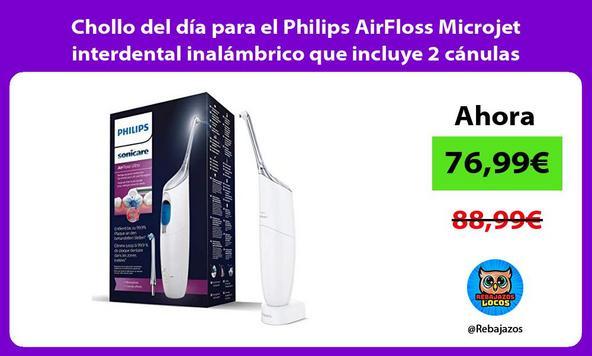 Chollo del día para el Philips AirFloss Microjet interdental inalámbrico que incluye 2 cánulas