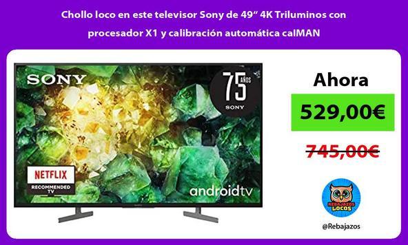 """Chollo loco en este televisor Sony de 49"""" 4K Triluminos con procesador X1 y calibración automática caIMAN"""