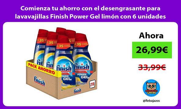 Comienza tu ahorro con el desengrasante para lavavajillas Finish Power Gel limón con 6 unidades