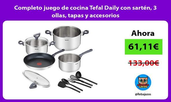Completo juego de cocina Tefal Daily con sartén, 3 ollas, tapas y accesorios