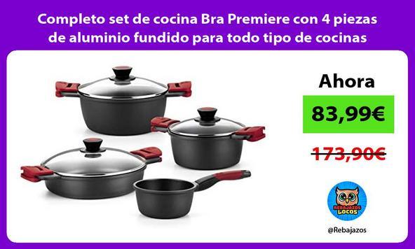 Completo set de cocina Bra Premiere con 4 piezas de aluminio fundido para todo tipo de cocinas