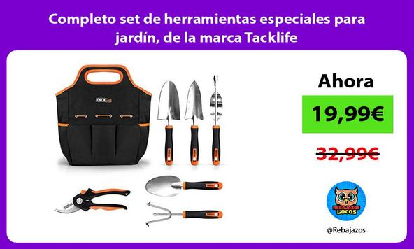 Completo set de herramientas especiales para jardín, de la marca Tacklife