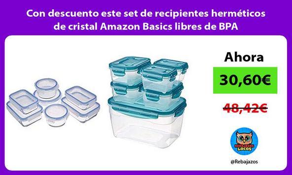 Con descuento este set de recipientes herméticos de cristal Amazon Basics libres de BPA