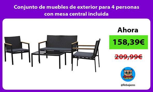 Conjunto de muebles de exterior para 4 personas con mesa central incluida