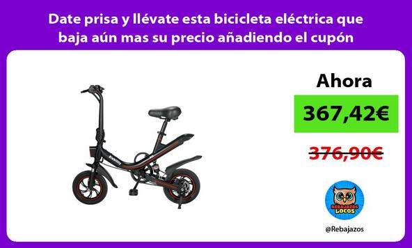 Date prisa y llévate esta bicicleta eléctrica que baja aún mas su precio añadiendo el cupón