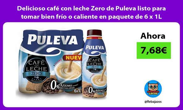 Delicioso café con leche Zero de Puleva listo para tomar bien frío o caliente en paquete de 6 x 1L