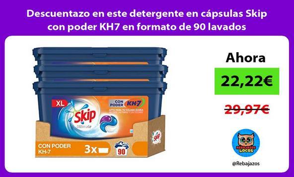 Descuentazo en este detergente en cápsulas Skip con poder KH7 en formato de 90 lavados