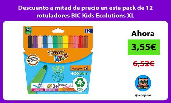 Descuento a mitad de precio en este pack de 12 rotuladores BIC Kids Ecolutions XL