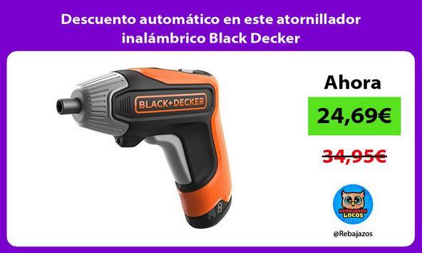 Descuento automático en este atornillador inalámbrico Black Decker