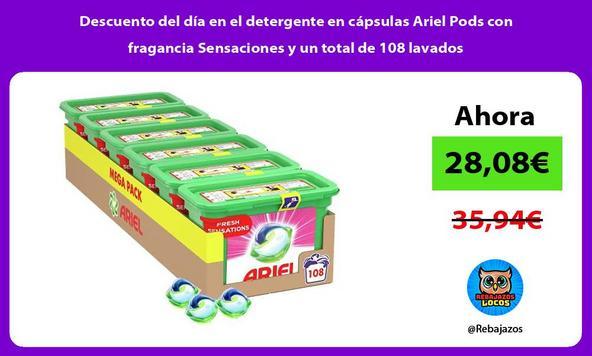 Descuento del día en el detergente en cápsulas Ariel Pods con fragancia Sensaciones y un total de 108 lavados