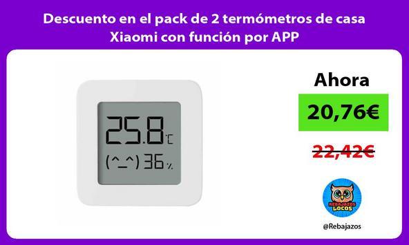 Descuento en el pack de 2 termómetros de casa Xiaomi con función por APP