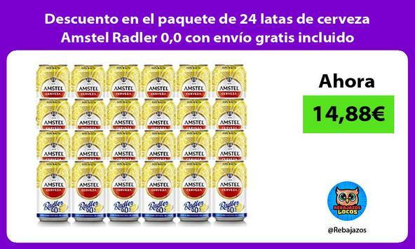 Descuento en el paquete de 24 latas de cerveza Amstel Radler 0,0 con envío gratis incluido