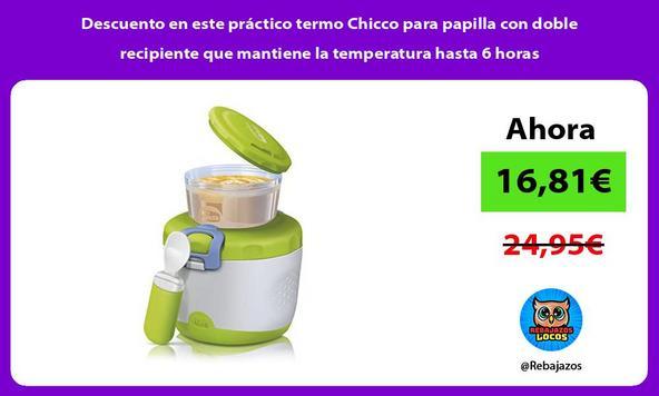Descuento en este práctico termo Chicco para papilla con doble recipiente que mantiene la temperatura hasta 6 horas