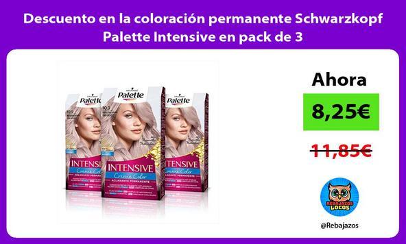 Descuento en la coloración permanente Schwarzkopf Palette Intensive en pack de 3