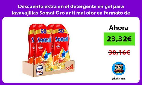 Descuento extra en el detergente en gel para lavavajillas Somat Oro anti mal olor en formato de 4