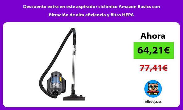 Descuento extra en este aspirador ciclónico Amazon Basics con filtración de alta eficiencia y filtro HEPA