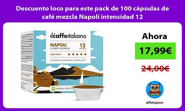 Descuento loco para este pack de 100 cápsulas de café mezcla Napoli intensidad 12