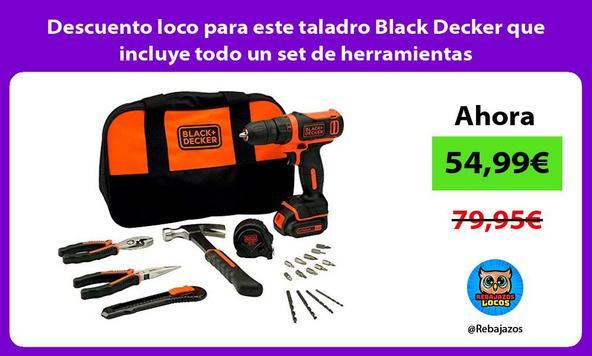 Descuento loco para este taladro Black Decker que incluye todo un set de herramientas