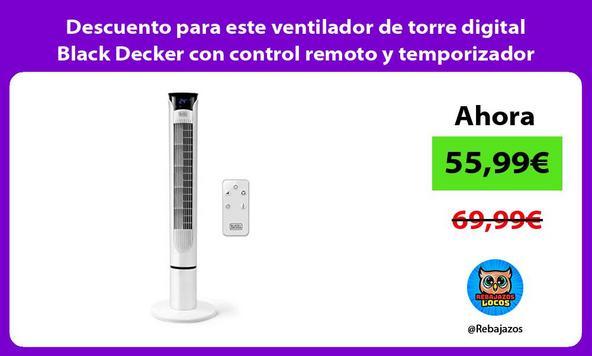 Descuento para este ventilador de torre digital Black Decker con control remoto y temporizador