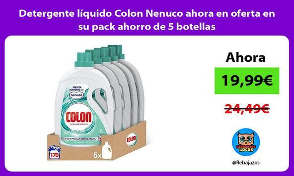 Detergente líquido Colon Nenuco ahora en oferta en su pack ahorro de 5 botellas