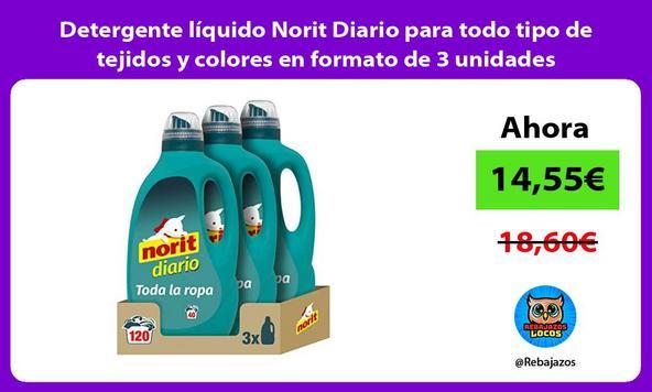 Detergente líquido Norit Diario para todo tipo de tejidos y colores en formato de 3 unidades