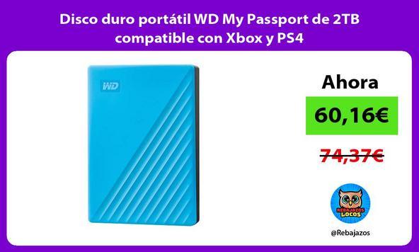 Disco duro portátil WD My Passport de 2TB compatible con Xbox y PS4