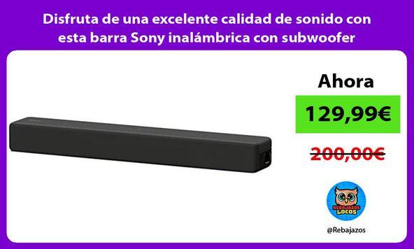 Disfruta de una excelente calidad de sonido con esta barra Sony inalámbrica con subwoofer integrado