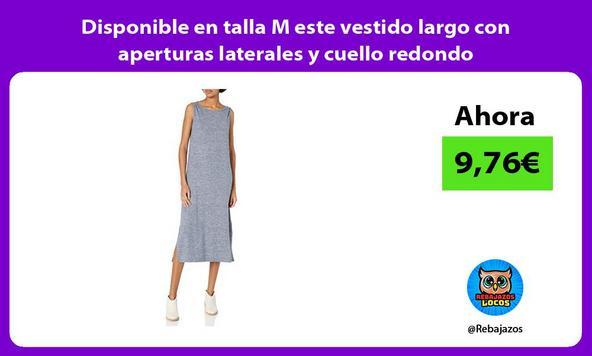 Disponible en talla M este vestido largo con aperturas laterales y cuello redondo