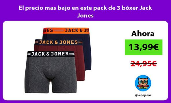 El precio mas bajo en este pack de 3 bóxer Jack Jones
