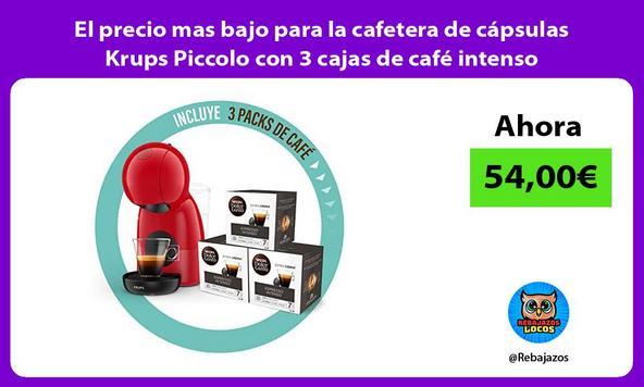 El precio mas bajo para la cafetera de cápsulas Krups Piccolo con 3 cajas de café intenso
