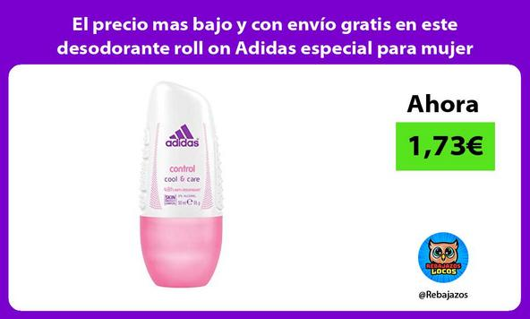 El precio mas bajo y con envío gratis en este desodorante roll on Adidas especial para mujer
