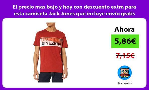 El precio mas bajo y hoy con descuento extra para esta camiseta Jack Jones que incluye envío gratis