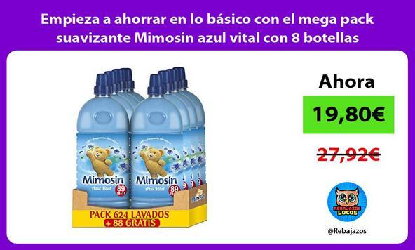 Empieza a ahorrar en lo básico con el mega pack suavizante Mimosin azul vital con 8 botellas