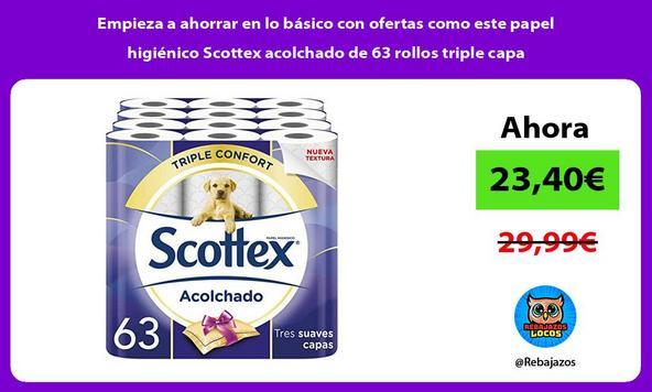 Empieza a ahorrar en lo básico con ofertas como este papel higiénico Scottex acolchado de 63 rollos triple capa