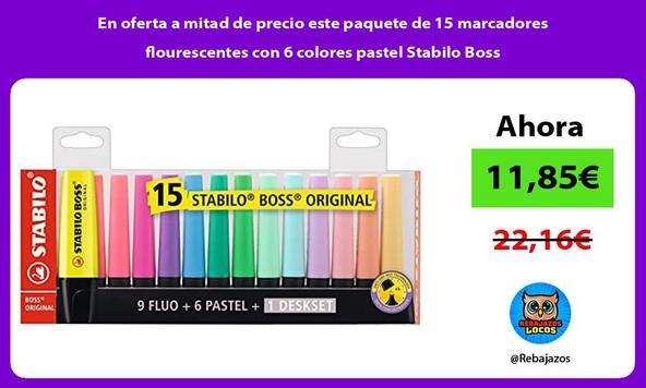 En oferta a mitad de precio este paquete de 15 marcadores flourescentes con 6 colores pastel Stabilo Boss