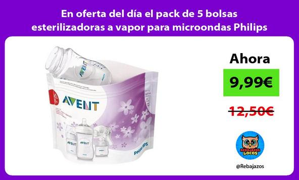 En oferta del día el pack de 5 bolsas esterilizadoras a vapor para microondas Philips Avent