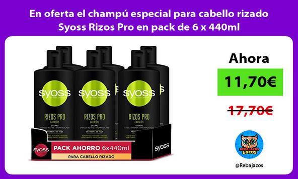 En oferta el champú especial para cabello rizado Syoss Rizos Pro en pack de 6 x 440ml