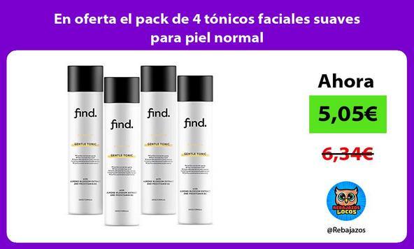 En oferta el pack de 4 tónicos faciales suaves para piel normal