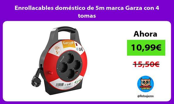 Enrollacables doméstico de 5m marca Garza con 4 tomas