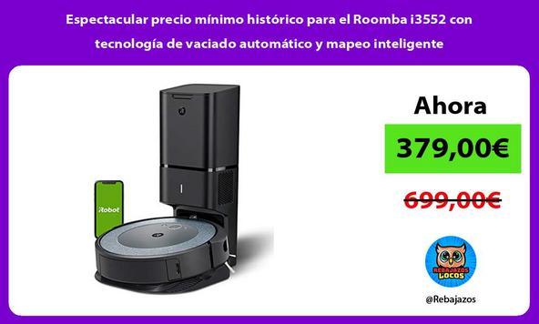 Espectacular precio mínimo histórico para el Roomba i3552 con tecnología de vaciado automático y mapeo inteligente